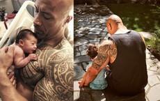 """Hình ảnh """"người khổng lồ"""" Dwayne Johnson cưng nựng các con gái bé bỏng gây xúc động"""