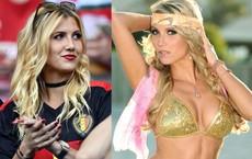 Hoa hậu Bỉ sang Nga cổ vũ chồng đá World Cup: Nóng bỏng, tóc vàng quyến rũ