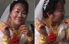 Cô dâu vàng đeo trĩu cổ trong ngày cưới nhưng nhìn sang chú rể ai cũng phải giật mình