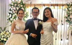 """Tự Long khiến Trung Hiếu """"bối rối"""" trong đám cưới với vợ kém 19 tuổi"""