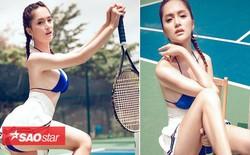 Ngắm vẻ đẹp sexy 'vô đối' của Hoa hậu Hương Giang trên sân quần vợt