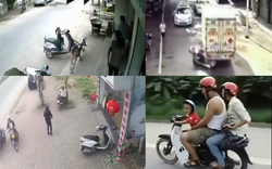 Clip: Hiểm họa khôn lường khi để trẻ ngồi đằng trước xe máy