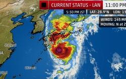 Siêu bão Lan tấn công Nhật Bản, đã có hơn 300 chuyến bay phải huỷ
