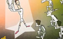 """Ronaldo được """"phong thánh"""" trong tranh biếm họa bóng đá thế giới"""