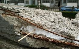 Sửng sốt với thanh bêtông bên trong nhét đầy xốp ở Trung Quốc