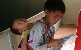Xót xa bức hình anh địu em ngủ gật... đi học con chữ