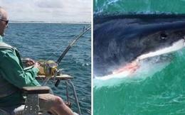 Phát hoảng khi câu được một con cá mập trắng khổng lồ