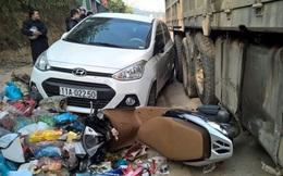 Mất lái khi nhường đường, xe tải tông 4 ô tô, xe máy