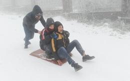 Giới trẻ thích thú chơi trượt tuyết trong giá lạnh
