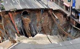 Đoạn đường lấp đầy hố tử thần Nhật Bản có dấu hiệu sụt lún, giới chức lại phải phong tỏa