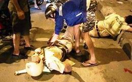 Hai chiến sĩ CSGT ngã sõng soài trên đường khi truy đuổi đối tượng có nghi vấn