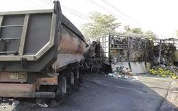 Xe tải đối đầu xe ben, 2 người chết cháy