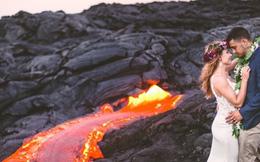 Đôi trẻ liều lĩnh chụp ảnh cưới bên miệng núi lửa