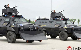 Cảnh sát cơ động Hà Nội phô diễn lực lượng, xe chiến đấu hiện đại