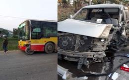 Va chạm nghiêm trọng, ôtô 7 chỗ bắn xa 10m, bánh xe cắm chặt vào đầu xe buýt