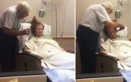 Mái tóc rối bời của cụ bà và hành động của chồng cụ khiến nhiều người rơi nước mắt