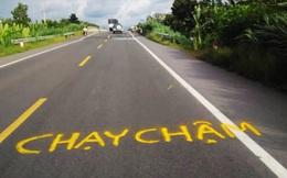 Dân vẽ cảnh báo nguy hiểm trên đường tránh BOT Cai Lậy