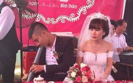 """""""Cám cảnh"""" đến cả ngày cưới, ngồi bên cô dâu mà chú rể vẫn tranh thủ vớ điếu cày làm 1 hơi"""