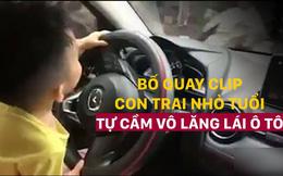 Bố để con nhỏ cầm vô lăng lái ô tô rồi quay clip: Hành động khiến người xem rùng mình