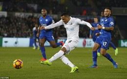 Premier League vòng 25: Swansea 2-0 Leicester