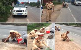 Tâm sự của CSGT nhặt tôm, cua giúp dân bị rơi vãi trên quốc lộ
