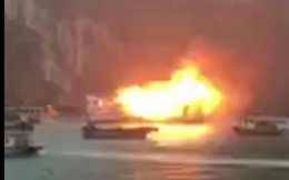 Tàu du lịch chở 21 người bất ngờ bốc cháy trên vịnh Hạ Long