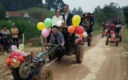 Màn rước dâu bằng xe công nông độc đáo tại Nghệ An