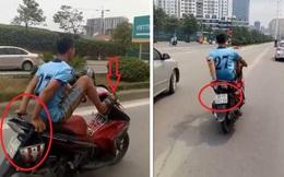 Lái xe máy bằng chân vào đường BRT bị phạt tới 7 triệu