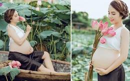 Vác bụng bầu 8 tháng đi chụp ảnh với hoa sen, cô giáo trẻ được khen tấm tắc vì quá xinh