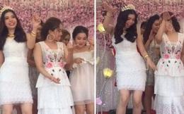 """Clip: Cô dâu 19 tuổi, mặc váy ngắn nhảy cực sung với """"hội chị em bạn dì"""" trong đám cưới"""