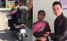 Bị bắt vì không đội mũ bảo hiểm, anh chồng nhờ luôn công an chở đi tặng hoa cho vợ