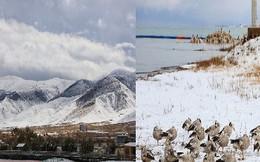 Vẻ mê đắm của hồ nước mặn lớn thứ 2 thế giới giữa làn tuyết phủ trắng