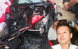 """""""Số phận"""" siêu xe Ferrari 16 tỷ của Tuấn Hưng ra sao sau tai nạn kinh hoàng, đầu xe nát tươm?"""