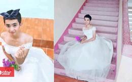 Khi nam sinh 'chuẩn men' diện váy cưới: Chụp ảnh 'thảo mai' đến nỗi người xem cười không nhặt được miệng