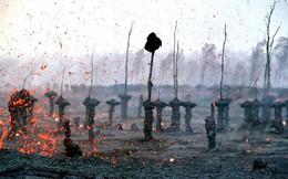 Núi lửa phun trào, cả rừng cây nham thạch xuất hiện