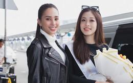 Vừa trở về từ Pháp, Trần Tiểu Vy ở lại sân bay để tiễn Bùi Phương Nga lên đường thi Hoa hậu Hoà bình Quốc tế
