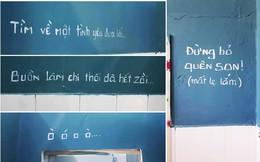 Dòng chữ ghi trên tường nhà vệ sinh khiến người đi vào ôm miệng bước ra