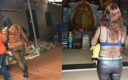"""Mặc """"nhầm"""" quần khi đi chùa, cô gái bị dân mạng phê bình dữ dội"""