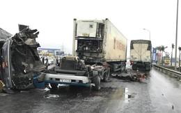 Đầu xe container rụng xuống đường sau cú va chạm mạnh