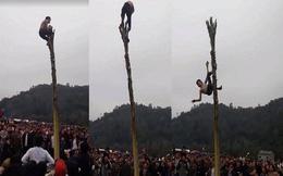 Nam thanh niên ngã từ ngọn cây chuối trong hội làng chỉ bị giãn dây chằng