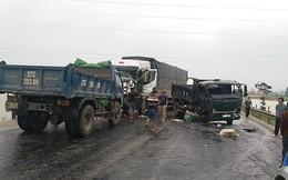 3 xe tải húc nhau trên đường tránh Vinh - Nghệ An
