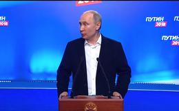 Ông Putin phát biểu từ trụ sở chiến dịch, mừng tái cử sau chiến thắng áp đảo