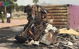 Cháy xe container, 2 người chết trong ca bin