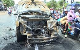 Hai cha con thoát chết khi ô tô 7 chỗ bốc cháy trên Quốc lộ 53