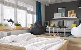 Căn hộ 34m2 kết hợp phòng khách và phòng ngủ tiện lợi