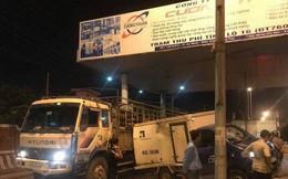 Xe tải tông nhau, quay ngang tại trạm BOT Biên Hòa