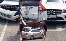 """Hà Nội: Đang để gọn gàng trong bãi đỗ sân bay, 3 xế hộp đen đủi vẫn bị """"xe điên"""" đâm hỏng rồi bỏ chạy"""