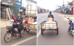 Clip: Chú rể đèo cô dâu bằng xe chở hàng và điểm bất thường khiến dân mạng tranh luận
