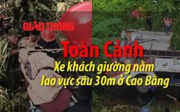 Video: Toàn cảnh xe khách giường nằm lao vực sâu 30m ở Cao Bằng