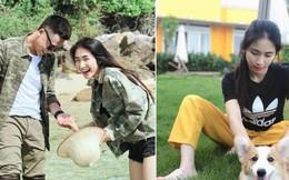 Hòa Minzy đi dép tổ ong, vui vẻ chơi với thú cưng tại biệt thự của bạn trai